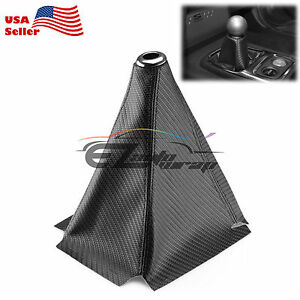 Shift Knob Shifter Boot Cover Black W Black Stitches Carbon Fiber Leather Look