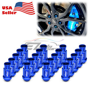 Blue 20 Pcs M12x1 5mm Screw Lug Nuts Short Tuner Aluminum Wheels Rims Cap Wn01