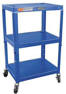 New Luxor Steel Utility Cart 3 Shelves 200 Lb Rated 18 X 24 Blue 3kxv4