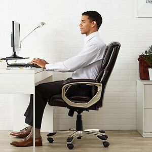 Brown Leather High Back Executive Boss Office Computer Gaming Table Desk Chair