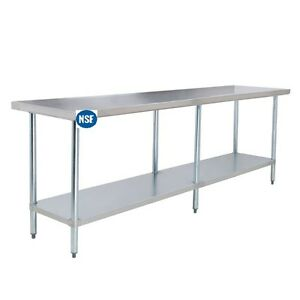 Commercial Stainless Steel Work Table 14 X 96 Heavy Duty L j