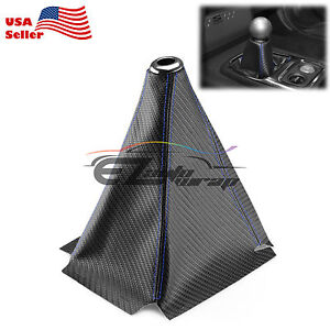 Shift Knob Shifter Boot Cover Black W Blue Stitches Carbon Fiber Leather Look