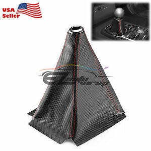 Shift Knob Shifter Boot Cover Black W Red Stitches Carbon Fiber Leather Look