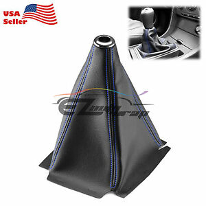 Shift Knob Shifter Boot Cover Black With Blue Stitches Pvc Leather Mt At Sport