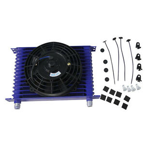 New Racing Universal 15 Row 10an Engine Transmission Oil Cooler W 7 Fan Kits