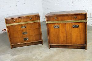 Hickory Manufacturing Co Campaign Style Chests A Vintage Pair
