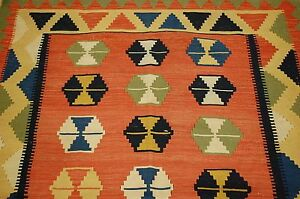 Circa 1950s Antique Caucasian Prayer Kilim 4x6 Finely Woven Vegetable Dye
