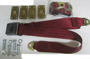 Wine Red 2 Point Seatbelt Red Lap Seat Belts 2 With Retrofit Mount Kit 60