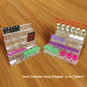 Retails Clear Acrylic 5 Tier Counter Step Display 14 75 w X 13 75 d X 8 h