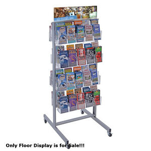 Clear 80 Pocket 2 sided Pegboard Brochure Floor Display 24 w X 48 h