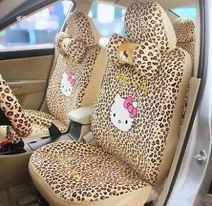New Hello Kitty Leopard Print Car Seat Covers Accessories Set 18pcs