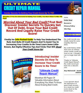 Ultimate Credit Repair Manual Website For Sale W Sales Page Resell Rights