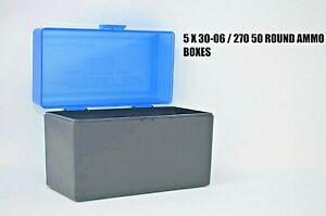 BERRY'S PLASTIC AMMO (5) 50 Round Storage Boxes For 30-06 Rifle FREE SHIPPING