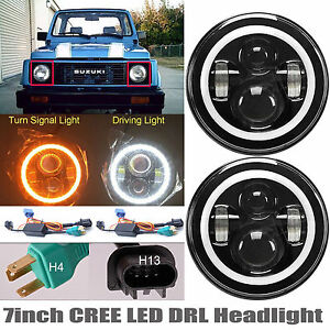 For Suzuki Samurai Sj410 7 Cree Led Headlight Drl Turning Signal Light Pair