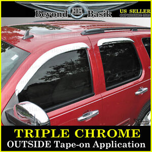 2007 2014 Chevy Tahoe Gmc Yukon 4pc Chrome Door Vent Window Visor Rain Guards