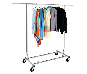 Home Rolling Adjustable Chrome Double Rail Clothing Garment Stand Rack
