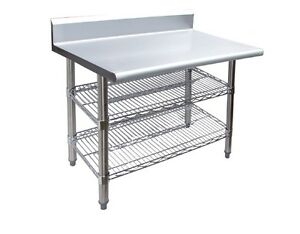 Stainless Steel Work Table 24 X 24 With Backsplash And 2 Chrome Wire Undershelf