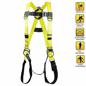 Spidergard Three D ring Full Body Fall Protection Safety Harness Yellow sph002