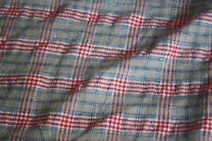 Antique French Duvet Woven Plaid Beige Red Blue Hand Sewn 73 X 58 Inches Linen