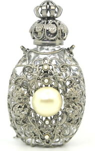 Czech Victorian Style Decorative Perfume Oil Holy Water Bottle Holder Necklace