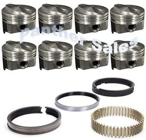 Chevy 7 4 454 Marine Hypereutectic Coated 20cc Dome Pistons Moly Rings Set 040