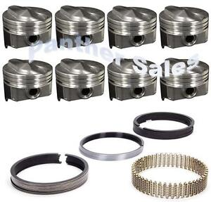 Chevy 7 4 454 Marine Hypereutectic Coated 20cc Dome Pistons Moly Rings Set 060