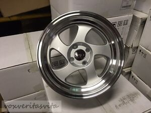 15 Swirl Tmb Style 4 Lug 4x100 Brand New Set Of 4 Step Lip Wheels Rims Silver