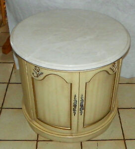 Mid Century Round Marble Top End Table Side Table By Weiman Rp T633