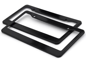 2pc Black Plastic License Plate Frame Tag Cover For Car Suv Van Truck D