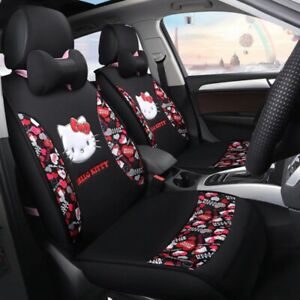 10 Pcs New Hello Kitty Seat Cover Set Polka Dots Black Car Accessories Cartoon
