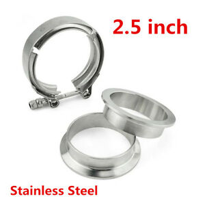 2 5 Stainless Steel V Band Flange Clamp Kit Universal Turbo Exhaust Downpipe