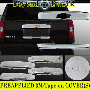 07 14 Chevy Tahoe Suburban Chrome Tailgate Lower Liftgate Gas Door Handle Covers
