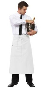 6 New Fame Fabrics F24 White Bistro Apron With Patch Pocket High Quality