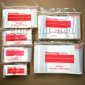 5 X 8 2mil White Block Reclosable Resealable Ziplock Poly Plastic Bags Jewelry