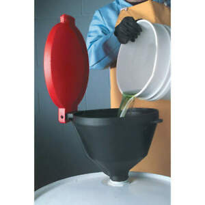 Ultra Polyethylene Brass Drum Funnel With Lid 13 3 8 with Spout 651 Black red