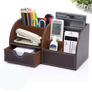 Brown Leather Desk Organizer Pen Pencil Holder Desktop Office Home Storage Box