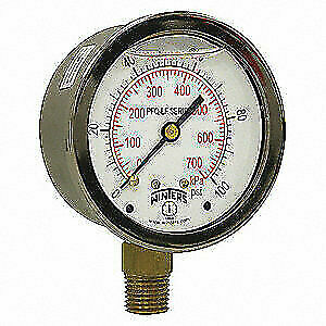 Winters Gauge pressure 0 To 200 Psi 4 1 2 In Pct325lf