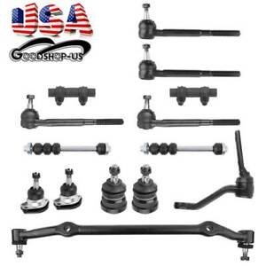14pc Complete Tierods Pitman Idler Arm Suspension Kit For Chevy Gmc Trucks 4wd