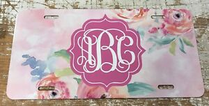 Monogram License Plate Pink Floral Watercolors Personalized Car Tag New