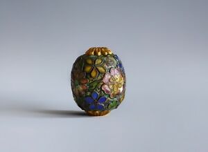 An Antique Floral Gilt Enamel Sagemono Bead