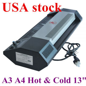 Us steel Thermal Laminator A3 A4 Hot cold 13 Machine Roller Pouch Photo Office