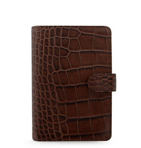 Uk Filofax Personal Classic Croc Organiser Planner Diary Chestnut Leather 026016