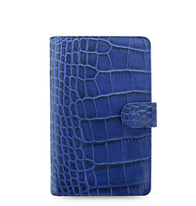 Uk Filofax A6 Compact Classic Croc Organiser Planner Diary Indigo Leather 026007
