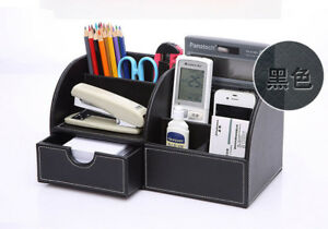 Desk Organizer Black Leather Desktop Office Pen Pencil Holder Storage Tray Drawe