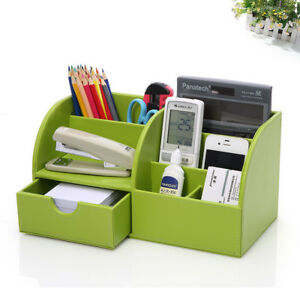 Desktop Organizer Office Storage Desk Holder Green Leather Box Tray Pen Drawer