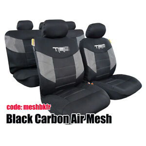 Airflow Cool Black Mesh Airbag Car Seat Cover Full Set 9pcs For Tacoma 1997 2018