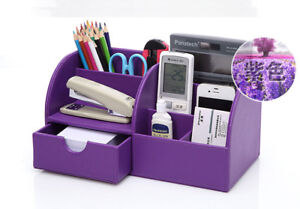 Desk Tray Organizer Office Supplies Storage Pencil Pen Holder Purple Leather