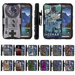 For Samsung Galaxy S5 Active G870 Rugged Hybrid Holster Belt Clip Case Armor