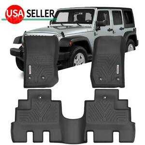 Floor Mats For 2014 2018 Jeep Wrangler Jk Unlimited Liners All Weather 3pc Set