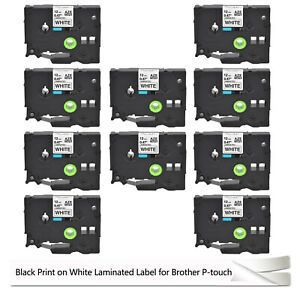 10 Pack Label Tape Tz 231 Tze 231 Black On White For Brother P touch 12mm 1 2